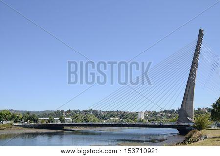 PONTEVEDRA, SPAIN - AUGUST 6, 2016: Cable stayed bridge over the river Lerez in Pontevedra Spain.