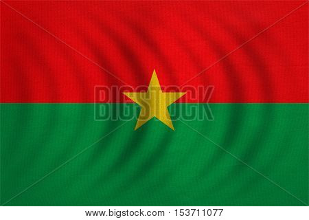 Burkina Faso national official flag. African patriotic symbol banner element background. Correct colors. Flag of Burkina Faso wavy with real detailed fabric texture accurate size illustration