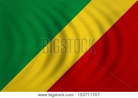 Congo Republic national official flag. African patriotic symbol banner element background. Correct colors. Flag of Republic of the Congo wavy detailed fabric texture accurate size illustration