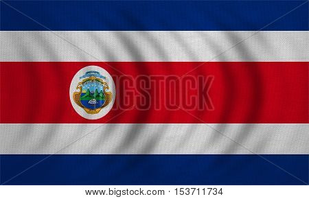 Costa Rican national official flag. Patriotic symbol banner element background. Correct colors. Flag of Costa Rica wavy with real detailed fabric texture accurate size illustration