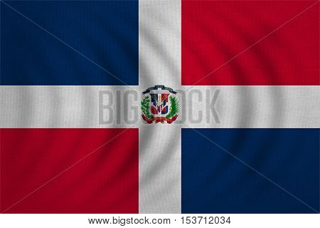 Dominican Republic national official flag. Patriotic symbol banner element background. Correct colors. Flag of Dominican Republic wavy with real detailed fabric texture accurate size illustration