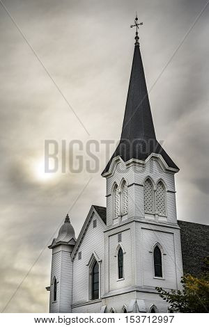 New England white wooden church in Maine, USA