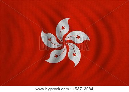 Hong Kongese official flag. Patriotic chinese symbol banner element background. Hong Kong is special region of PRC. Correct colors. Flag of Hong Kong wavy fabric texture accurate size illustration