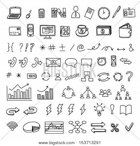Hand drawn business doodles vector set of management, marketing and finance.