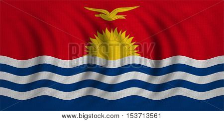 Kiribati national official flag. Patriotic symbol banner element background. Correct colors. Flag of Kiribati wavy with real detailed fabric texture accurate size illustration