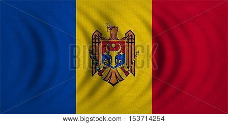 Moldovan national official flag. Patriotic symbol banner element background. Correct colors. Flag of Moldova wavy with real detailed fabric texture accurate size illustration