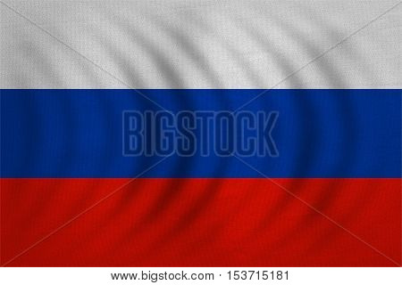 Russian national official flag. Patriotic symbol banner element background. Correct colors. Flag of Russia wavy with real detailed fabric texture accurate size illustration