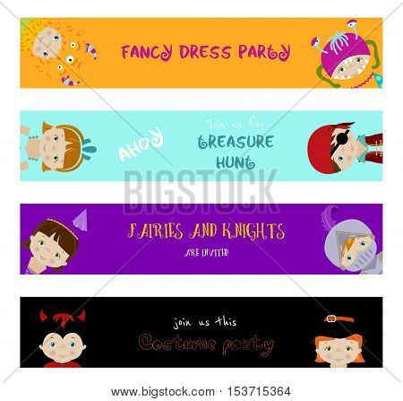 Set of horizontal banners with cute little kids in fancy dresses of fairy, monster, witch and pirate, flat vector style.