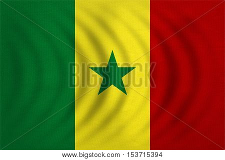 Senegalese national official flag. African patriotic symbol banner element background. Correct colors. Flag of Senegal wavy with real detailed fabric texture accurate size illustration