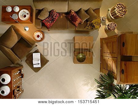 photo in the living room fitting studio with rustic furniture and decoration details