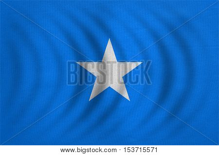 Somali national official flag. African patriotic symbol banner element background. Correct colors. Flag of Somalia wavy with real detailed fabric texture accurate size illustration