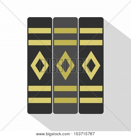 Three literary books icon. Flat illustration of three literary books vector icon for web