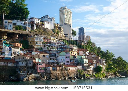 Shanty town by the ocean, contrast in Brazil