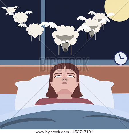person suffering insomnia  - funny cartoon vector illustration