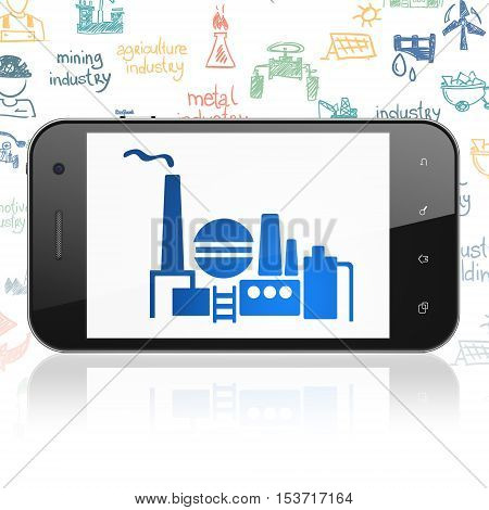 Manufacuring concept: Smartphone with  blue Oil And Gas Indusry icon on display,  Hand Drawn Industry Icons background, 3D rendering
