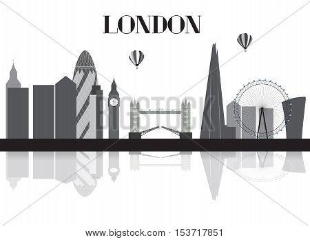 UK, Silhouette London city background. Vector Illustration EPS10