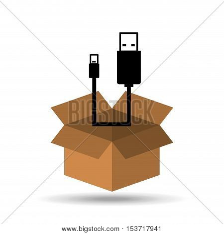 USB icon connetion plug cable design vector illustration