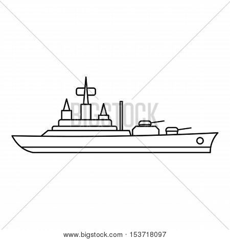 Warship icon. Outline illustration of warship vector icon for web