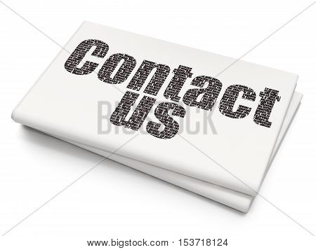 Marketing concept: Pixelated black text Contact Us on Blank Newspaper background, 3D rendering