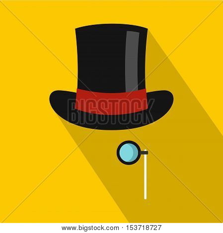 Hat with monocle icon. Flat illustration of hat with monocle vector icon for web