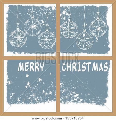 christmas snowy window vector illustration with christmas balls and text merry christmas holiday background