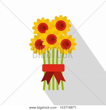 Bouquet of flowers icon. Flat illustration of bouquet of flowers vector icon for web