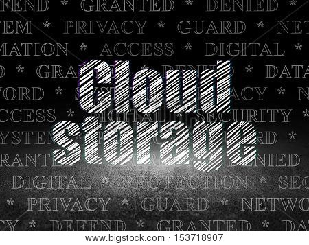 Protection concept: Glowing text Cloud Storage in grunge dark room with Dirty Floor, black background with  Tag Cloud