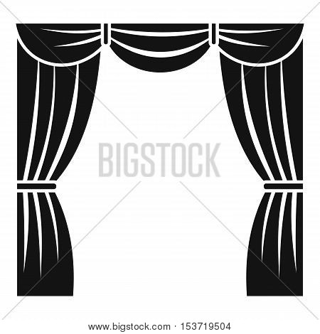 Curtain on stage icon. Simple illustration of curtain on stage vector icon for web
