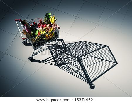 Full Shopping Cart Cast Shadow On The Floor As Empty Shopping Cart. 3D Illustration.