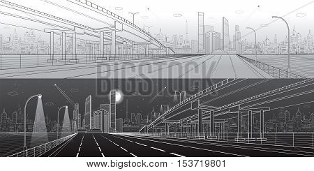 Automotive flyover, architectural and infrastructure panorama, transport overpass, highway. Business center, city, towers and skyscrapers, urban scene, black and white version, vector design art
