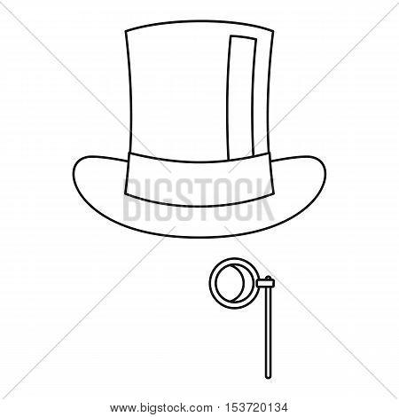 Hat with monocle icon. Outline illustration of hat with monocle vector icon for web