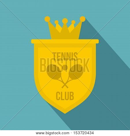 Coat of arms of tennis club icon. Flat illustration of coat of arms of tennis club vector icon for web