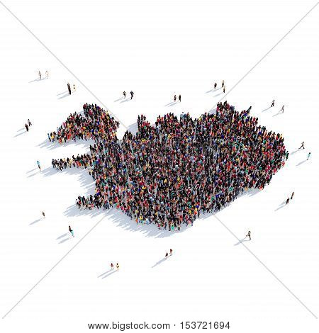 Large and creative group of people gathered together in the form of a map Iceland, a map of the world. 3D illustration, isolated against a white background. 3D-rendering.