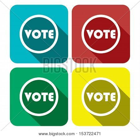 Vote Flat Icon Set Banner - Vote Sign In Different Color - Voting Collection Set Vector Illustration Stock