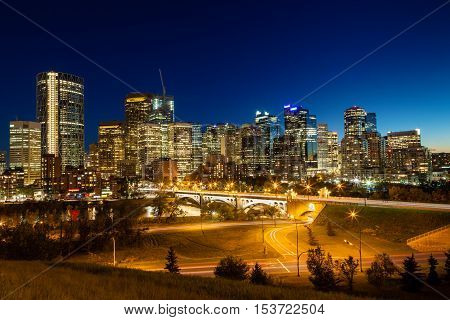 Calgary Downtown Skyline Just After Sunset
