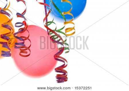 Border made from colorful balloons and confetti isolated on white background poster