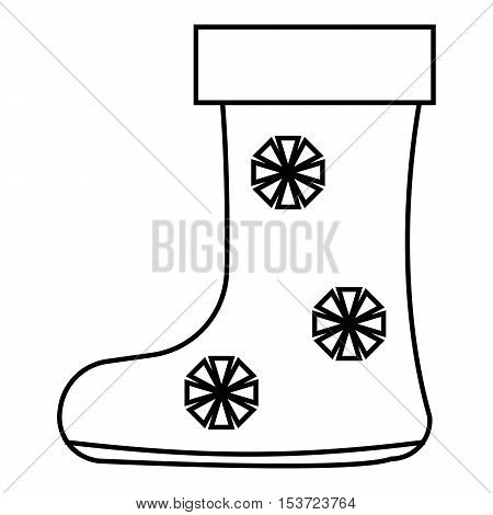 Winter boot with snowflake icon. Outline illustration of winter boot with snowflake vector icon for web