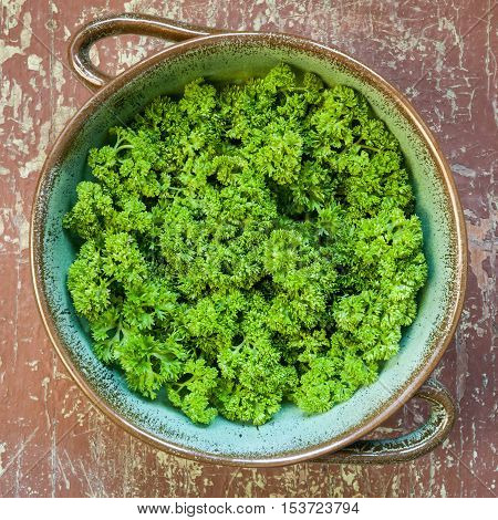 Fresh green parsley in a bowl on rustic wooden table