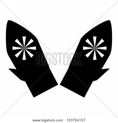 Mittens with snowflake icon. Simple illustration of mittens with snowflake vector icon for web
