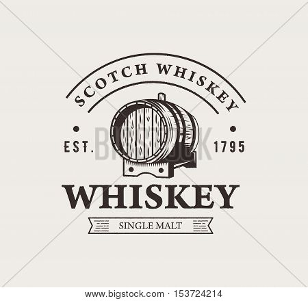 Hand drawn whiskey logo. Typography monochrome hipster vintage label. For flayer poster or t-shirt print.