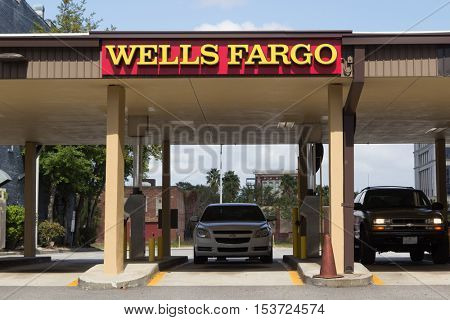 JACKSONVILLE, FLORIDA - OCTOBER 26, 2016: A Wells Fargo Bank drive thru in Jacksonville. Wells Fargo & Company was founded in 1929 and currently has 9,000 bank branches in 39 states.