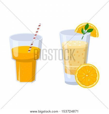 Glass of orange juice fresh drink beverage healthy drink isolated vector illustration.