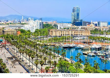 Barcelona, Spain - May 27, 2016: promenad along the berth Moll de la Fusta, Museum of Catalonia history in the Port Vell de Barcelona, Barceloneta