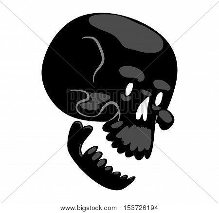 Skull bones human face illustration isolated on white background. Skull bones cartoon character design. Skull bones symbol.
