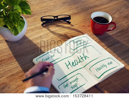 Healthy Lifestyle Wellbeing Plan Words Concept