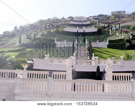 General form of Bahai Gardens in Haifa December 15 2003