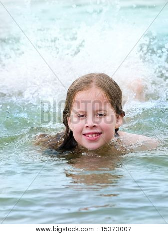 Girl swiming in the sea