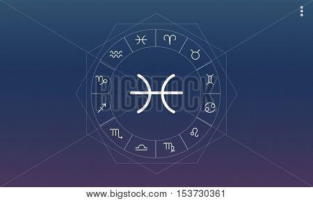 Pisces Horoscope Zodiac Fortune Symbol Graphic Concept