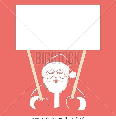 Illustration with Santa Claus holding white blank, isolated place for text for your creativity.