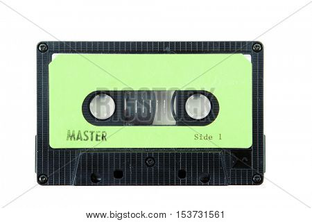 cassette tape with a blank label on white